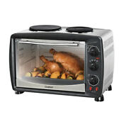 Ovation 26l Benchtop Electric Oven Roast Bake Grill Toaster W Double Hot Plate