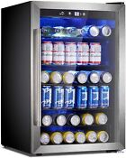 Beverage Refrigerator Or Wine Cooler With Glass Door For Beer Soda Or Wine