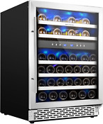 Phiestina 24 Inch Under Counter Wine Cooler 46 Bottle Built In Dual Zone Wine