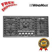 34 Black Titanium Stainless Steel Built In 5 Burner Stove Oven Cooktop Gas New