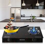 2 Burners Stove Gas Propane Range Tempered Ignition Camping Glass Cooktop Bg Two