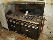 Classic Cast Iron Gas Stove W 9 Burners As Is