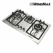 Windmax 28 Silver Gas Stainless Steel Cooktop Stove Cook Top 3 Burner Wok Usa