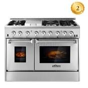 Home 48 Gas Range Dual Fuel 6 Burner Double Electric Oven Stainless Steel G1z6
