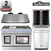 Thor Kitchen Dual Fuel 48 Range Hrd4803u Double Oven Appliance Package New