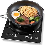 Aicok Portable Induction Cooktop Countertop Burner With Timer 15 Power Leve