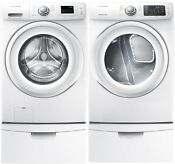 Samsung White Front Load Washer Electric Dryer Pedestals Wf42h5000aw Dv42h5000ew
