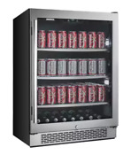 Wide Beverage Center Right Swing Door 24 Led Lighting Secure Double Pane Glass