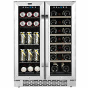 Whynter 24 Built In French Door Dual Zone 20 Bottle Wine 60 Can Beverage Cooler