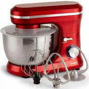 Vonshef 1000w Red Food Stand Mixer Kitchen Aid 4 5l Mixing Bowl Whisk Beater