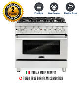 Cosmo 36 4 5 Cu Ft Dual Fuel Gas Range With 6 Italian Burners Stainless Steel