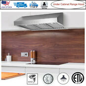 36 Under Cabinet Stove Range Hood Stainless Steel W Led Lamp Kitchen Cook Fan