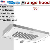 30 Under Cabinet Range Hood Stainless Steel 2xfan 350cfm Vented Kitchen Cooking