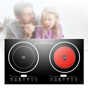 Portable Electric Dual Induction Cooker Cooktop 2400w Countertop Double Burner