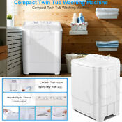 20 7 Lbs Mini Washing Machine Compact Twin Tub Laundry W Drain Pump Spiner Drye