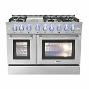 Thor Kitchen Hrg4808u 48 Griddle Gas Range With 6 Burners And Double 4 2 Cu Ft