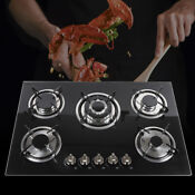 Used Lpg Ng Gas Cooktop 30 5 Burners Built In Stove Tempered Glass Cooker