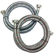 Washing Machine Water Hose 2 Pack Hoses Set Stainless Steel Part Supply Line New