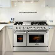 48 6 Burner Stainless Steel Gas Range Double Electric Oven 2 Year Warranty F9v9