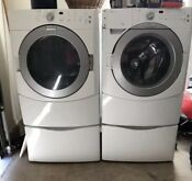Preowned Maytag He Front Loader Washer And Dryer With Pedestals Description