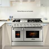 New 48 6 Burner Dual Fuel Stainless Steel Gas Range Double Electric Oven Y1w8