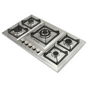 Silver 34in Stainless Steel 5 Burners Built In Lpg Ng Gas Hob Stoves Cooktops