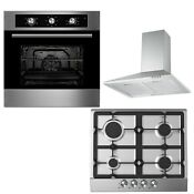 Cookology 60cm Built In Electric Fan Oven Cast Iron Gas Hob Cooker Hood Pack