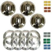 Range Kleen Electric Replacement Knob Part Accessory Kitchen Chrome 4 Pack Set