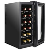 12 18 Bottles Wine Cooler Refrigerator Freestanding Thermostat Wine Cabinet Home