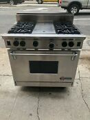 Wolf Gas Range 36 Inch With 4 Burners And Radiant Grill Charbroiler