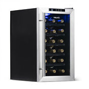 Wine Refrigerator Stainless Steel Thermoelectric Led Interior Lighting 18 Bottle