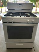 Whirlpool 4 Burner Gas Stove Oven With Warming Drawer White Model Wfg32omobwo