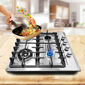 Built In 23 Stainless Steel 4 Burner Stove Ng Gas Hob Cooktop Cooker Cooking Us