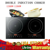Electric Dual Induction Cooker Cooktop Hob 2400w Black Crystal Panel 110v