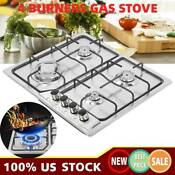 22 8 Stainless Steel Cooktop Built In Stove Natural Gas Cooker 4 Burners