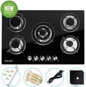 Gas Cooktop 30 Inches 5 Burners Tempered Glass Built In Gas Stove