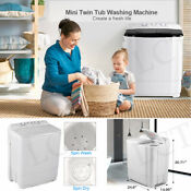 21lbs Compact Portable Washing Machine Twin Tub W Drain Pump Spiner Dryer Black