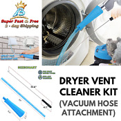 Vacuum Hose And Adapter Attachment Washer Lint Remover Dryer Vent Cleaning Kit