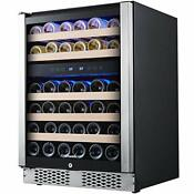 24 Inch Wine Refrigerator Under Counter Dual Zone Wine Cooler W Stainless Steel