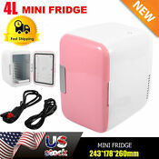 12v Pink Car Home Travel Small Refrigerator Mini Fridge Cooler Warmer 4l Sw
