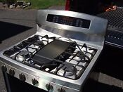 Ge Profile Freestanding Gas Range With Double Ovens Truetemp Stainless Light Use