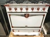 La Cornue 36 Albertine Dual Fuel Range Pure White With Copper Stainless Chrome