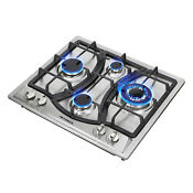 Us Seller 23 Curve Stainless Steel 4 Burners Ng Lpg Gas Hob Cooktop Cooker