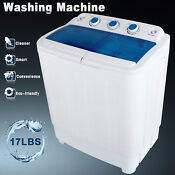 Modern 17lbs Mini Compact Portable Washing Machine Twin Tub Laundry Washer Dryer
