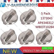 5x Burner Control Knob Stainless Steel For Range Stove Oven Ap4346312 Wb03t10284