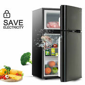 3 2 Cu Ft Compact Refrigerator 2doors Small Mini Fridge Top Freezer W Fruit Box