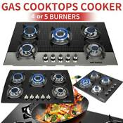 Black 24 30 35 4 5 Burners Built In Stove Ng Lpg Gas Cooktops Tempered Glass