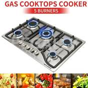 30in Cooktop Stainless Steel 5 Burners Built In Cooktops Ng Lpg Gas Hobs Stoves