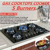30 Built In Cooktop Stove Lpg Ng Gas Hob W 5 Burners Countertop Tempered Glass