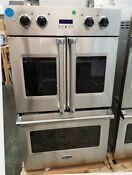Viking 30 Double Electric Wall Oven With French Door Top Oven Stainless Steel